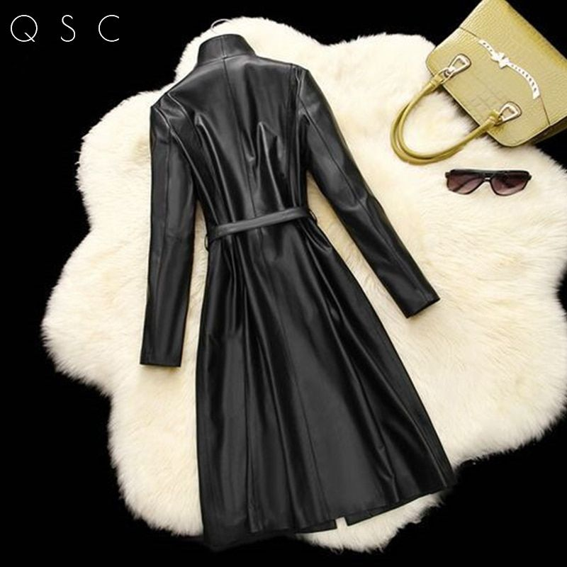 2017 New Fashion New Real Sheepskin Leater Women Jacket Genuine Leather Coats Slim Cool Spring Autumn Winter Ladies Long Jackets