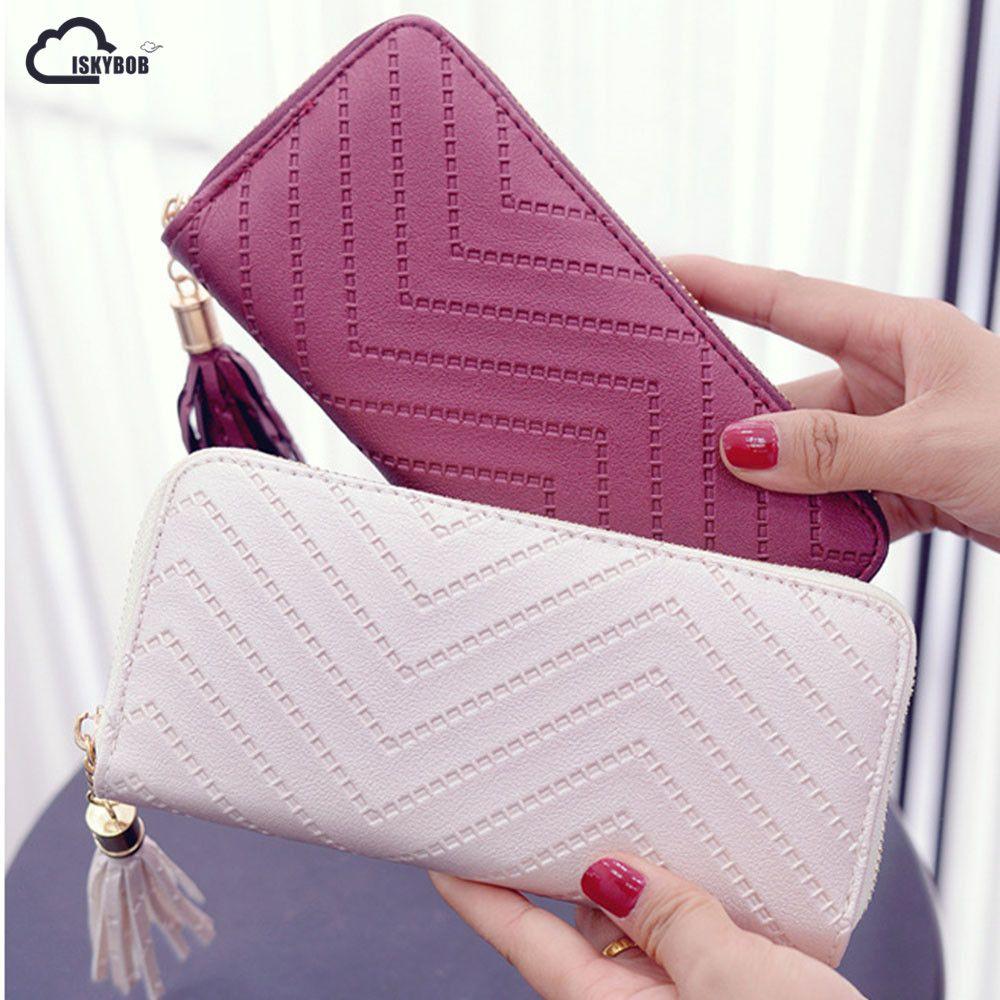 ISKYBOB Women Long Wallet Lady Leather Wallet Clutch Checkbook Purse Tassel Purse Women Long Leather Wallet