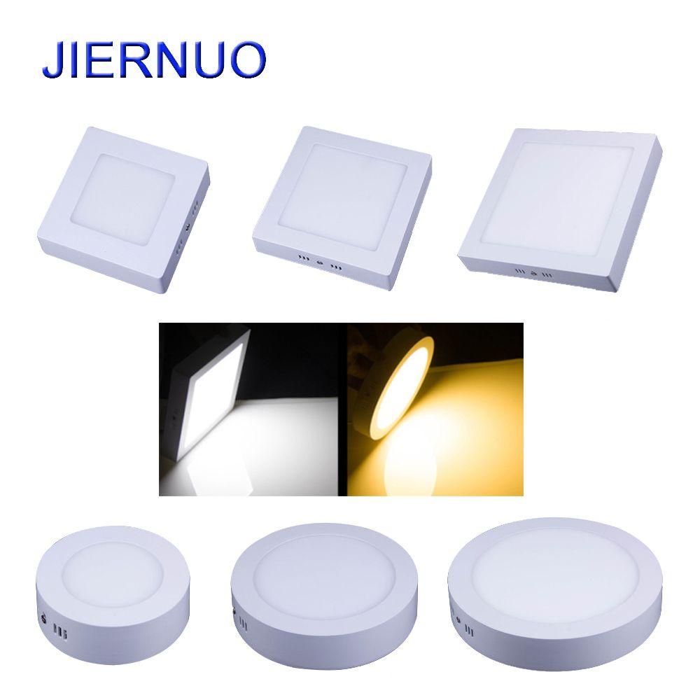 Panneau LED Lumière 10 W/15 W/25 W/30 W Rond/Carré LED Panneau Lumineux Surface Monté Dimmable Down light LED Plafonnier AC85-265V AJ