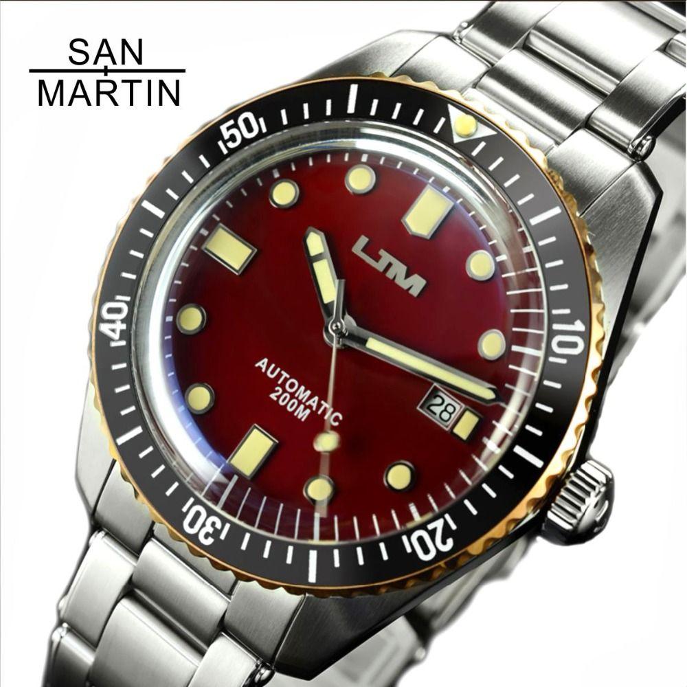 San Martin Sechzig-Fünf Männer Vintage Tauchen Uhr Edelstahl Automatische Uhr 200 Wasserdicht Bronze Ring Retro Armbanduhr