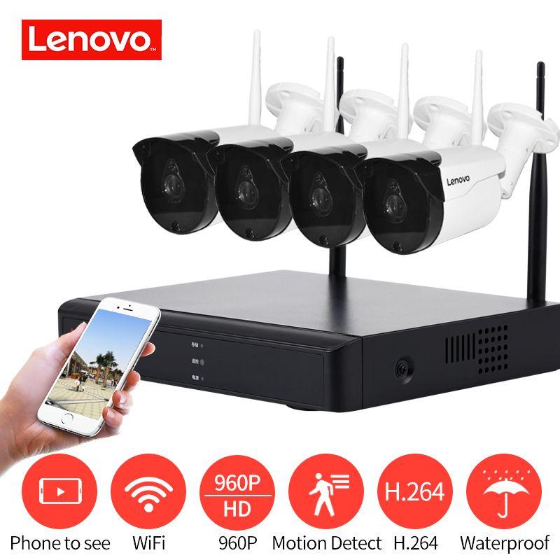 LENOVO 4CH Array HD WiFi Wireless Security Camera System DVR Kit 960P CCTV WIFI Outdoor Full HD NVR Surveillance Kit cctv camera