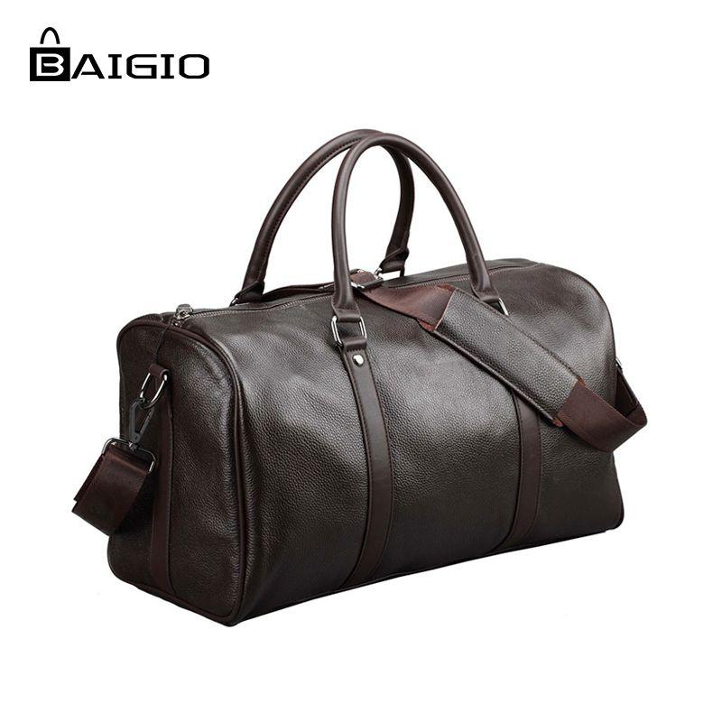 Baigio Hommes 2 couleurs Voyage Sac En Cuir Véritable Grande Capacité Bagages Voyage Sacs Étanche Week-End Duffle Bagages Sac D'ordinateur Portable