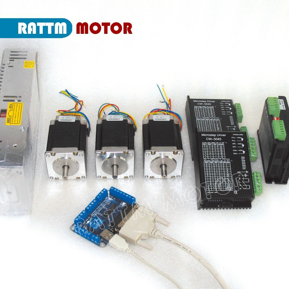 EU Delivery! 3axis Nema23 Stepper motor CNC controller kit, 270oz-in 76mm & Motor driver 256 microstep 4.5A & Power supply