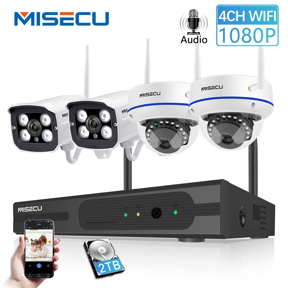 MISECU Wireless 4CH CCTV System Wifi NVR Kit IP Camera Audio Record Outdoor Indoor VandalProof Dome Camera Wifi 1080P 960P 720P