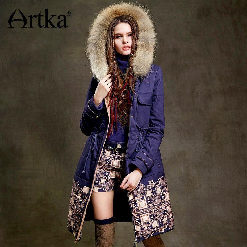 Artka Fur Parka Women Winter Down Jacket 2017 Warm Parka Ethnic Print Coat Female Long Raincoat Drawstring Waist Jacket MA15157D