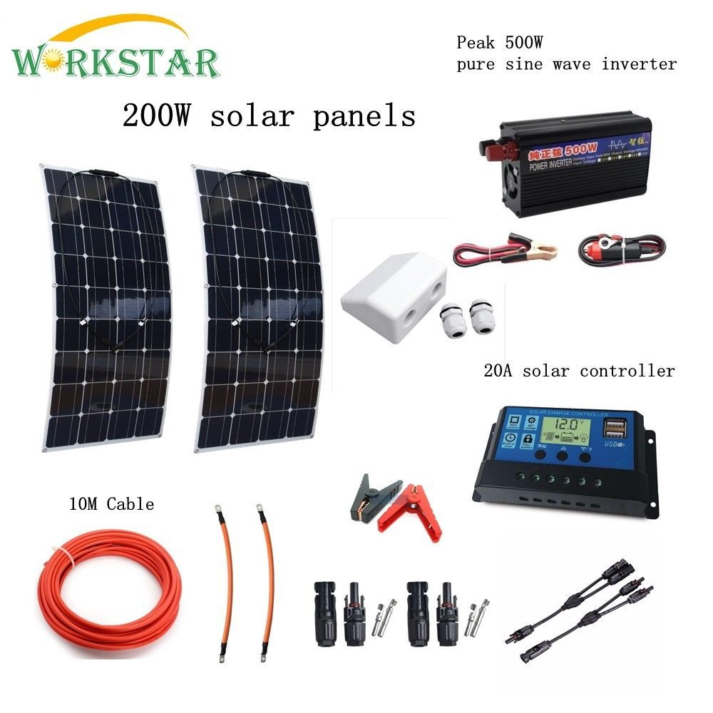 Complete 200W Solar System for Beginner 2X100W Solar Panels 500w Inverter with Installation Accessories For Yacht RV Boat