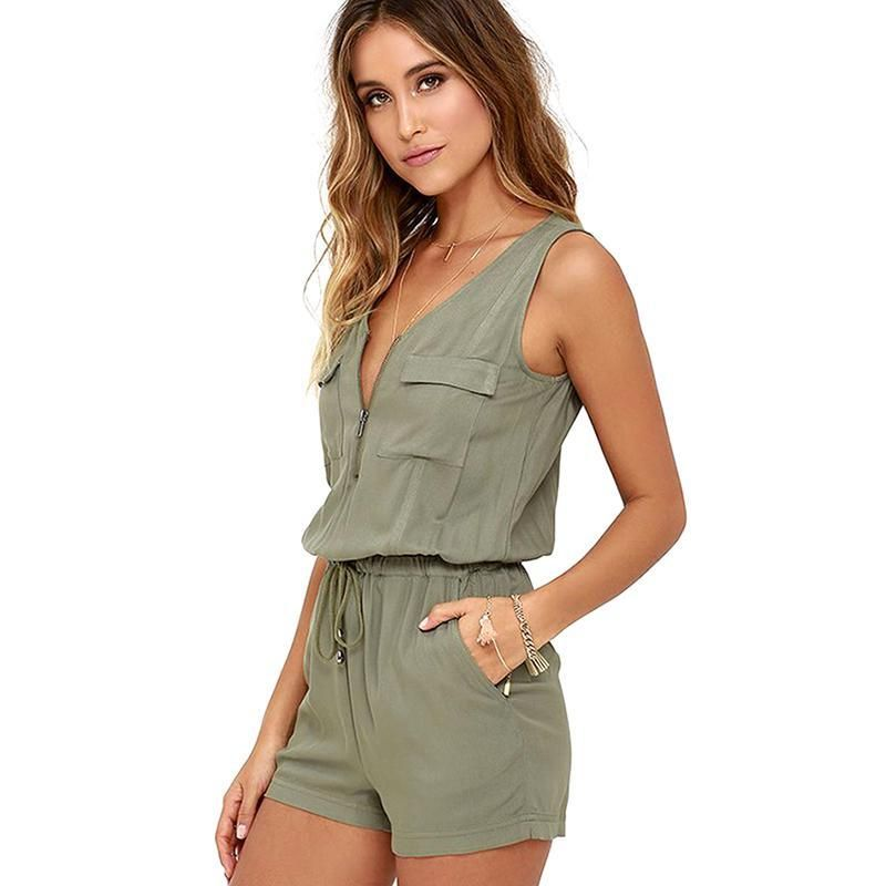 Sexy Sans Manches body Col V zipper poches combishort shorts barboteuse d'été De Mode plage salopette femme robe femmes salopette