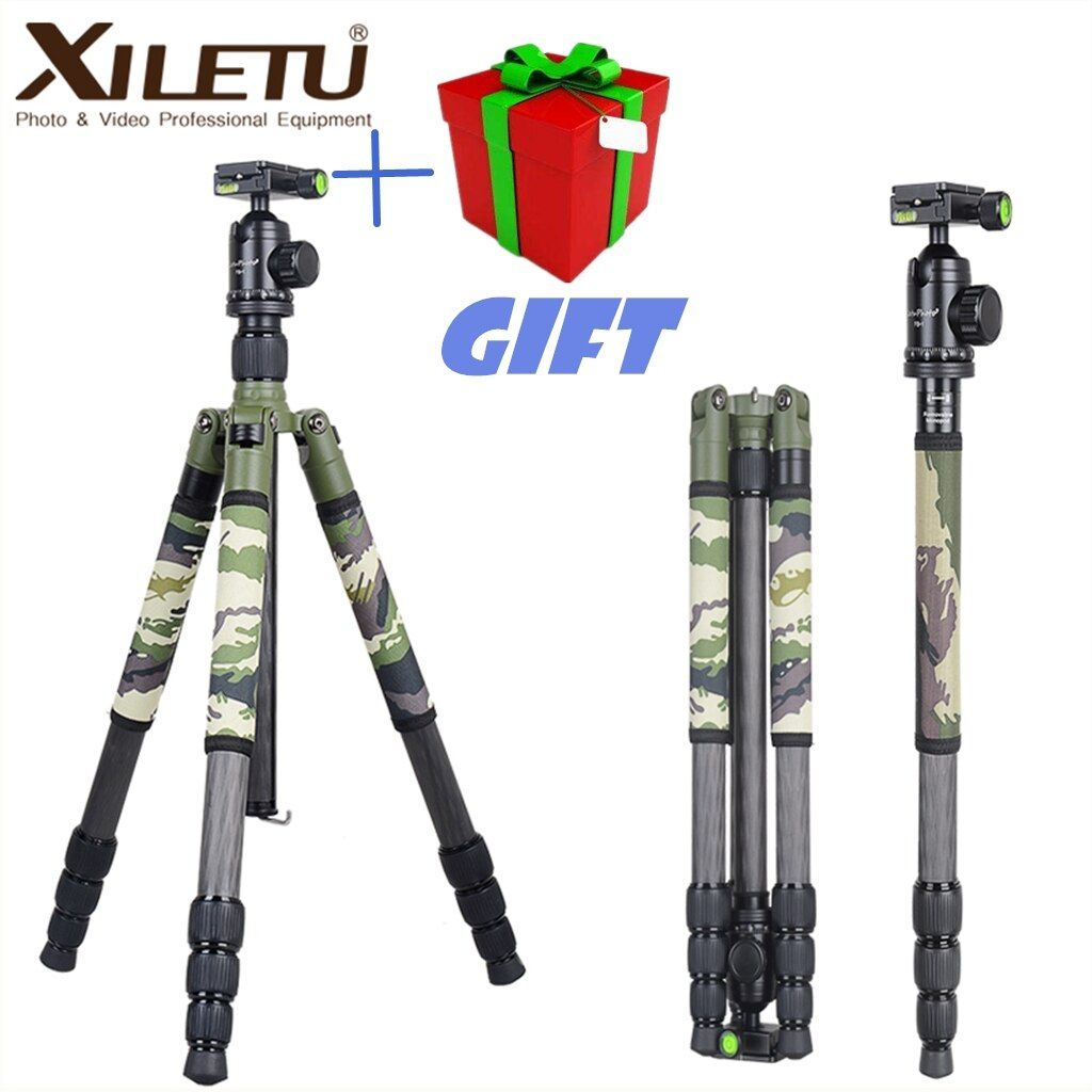 Xiletu T284C + FB1 Grün Camouflage Verdeckte Versteckte Carbon Fiber Stativ Für Outdoor Reise Jagd Schießen DSLR Digital Kamera