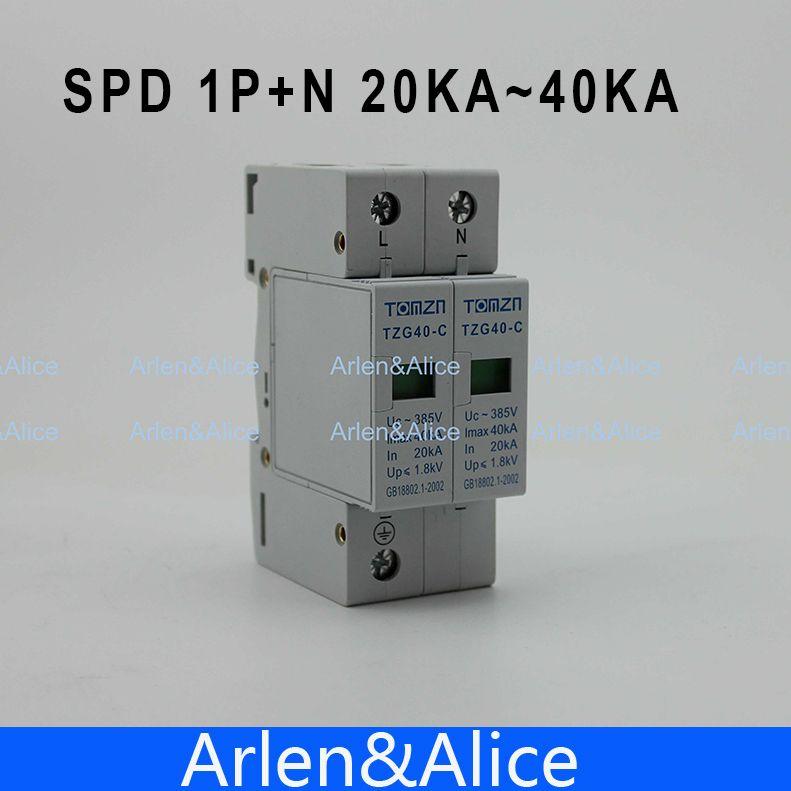 SPD 1 P + N 20KA ~ 40KA C ~ 385VAC Haus Überspannungsschutz schutz Low-spannung Ableiter gerät