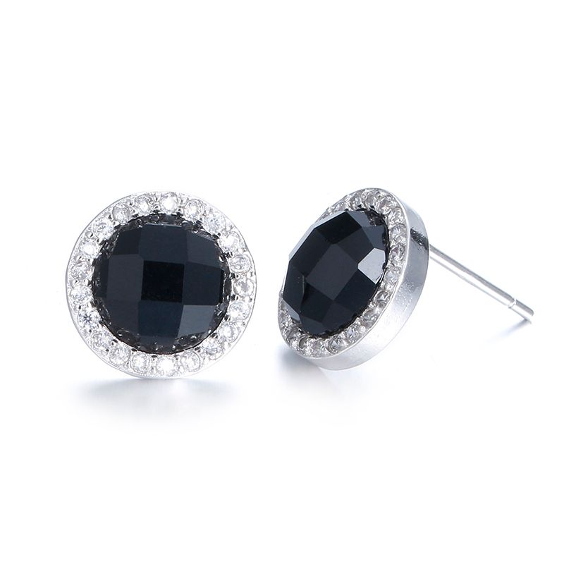 100% 925 regalo de cumpleaños de cristal de plata de la moda negro mujeres joyas ladies'stud pendientes mejor barato al por mayor femenina