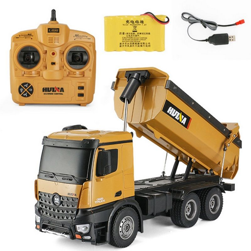 Huina 573 RTR 2.4GHz 10 channel 1:14 Remote Control RC Truck Dump self-discharging metal Auto Demonstration LED Light RC Toys