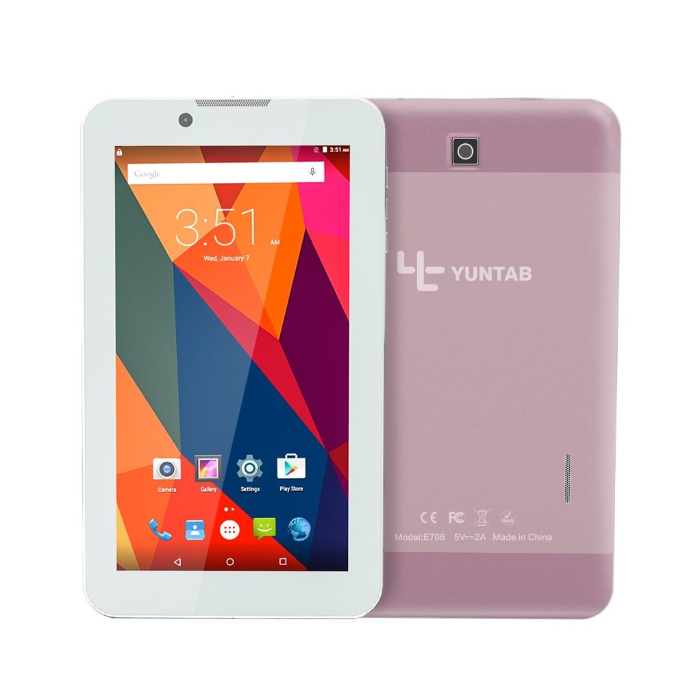 Yuntab 7 дюймов сплав Планшеты PC e706 Android 5.1 4 ядра 1 г + 8 г с нормальным Размер SIM-карты сотовый телефон двойной Камера цвета розового золота