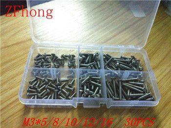 180 pcs 3mm M3 Acier Inoxydable 304 Bouton ISO7380 Tête Allen Boulons À Six Pans Creux Vis Assortiment Kit