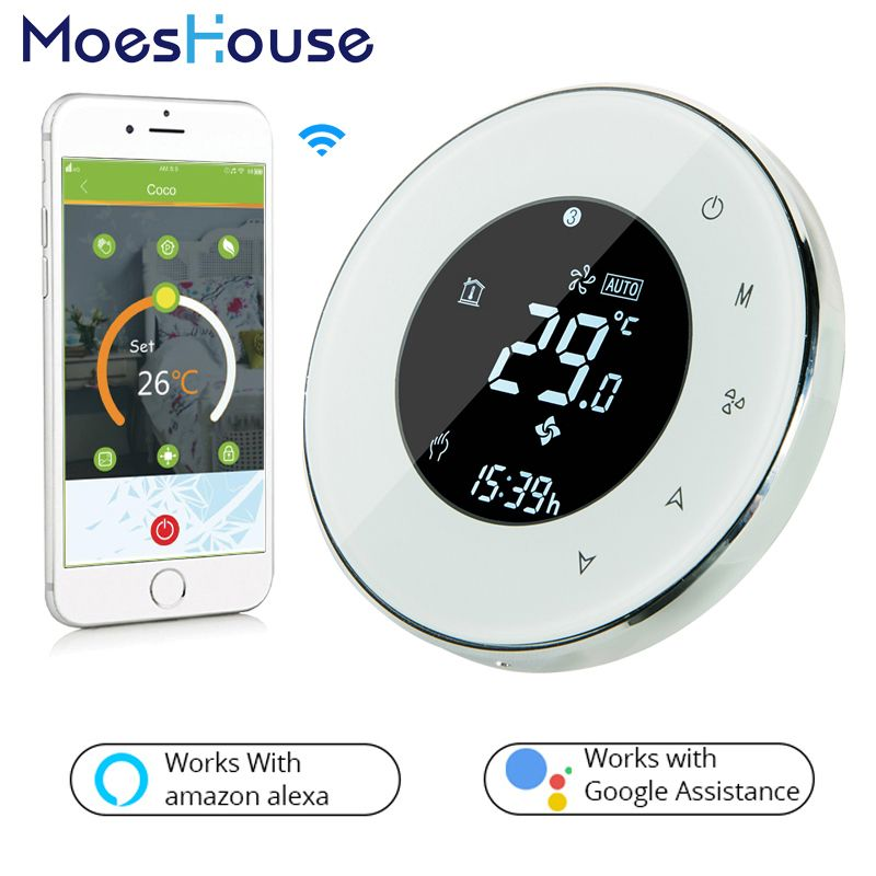 Smart WiFi Thermostat LCD Touch Screen Electric Underfloor Heating Backlight 16A Works with Alexa Google Home BHT-6000-GBLW