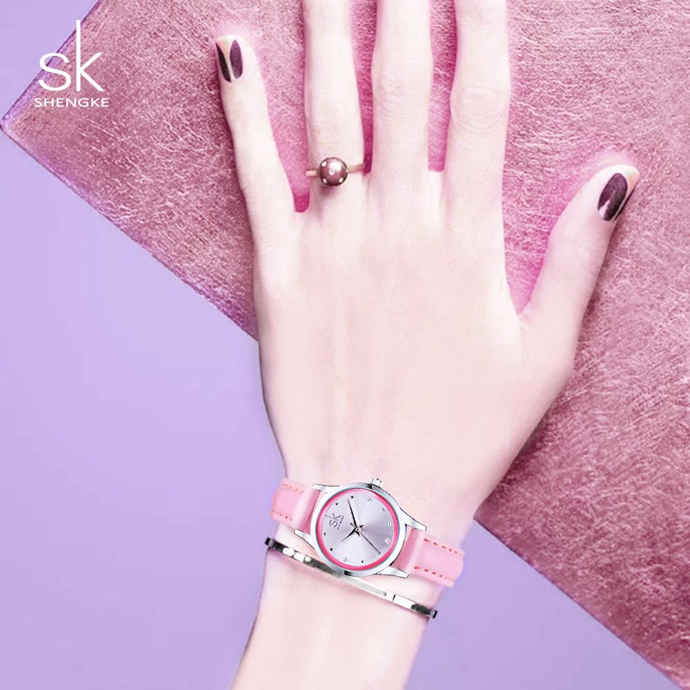 Shengke Ladies Watches Small Round Dial Quartz Watch Women Fashion Leather Watches Montre Femme SK 2018 Relogios <font><b>Feminino</b></font> #K0008