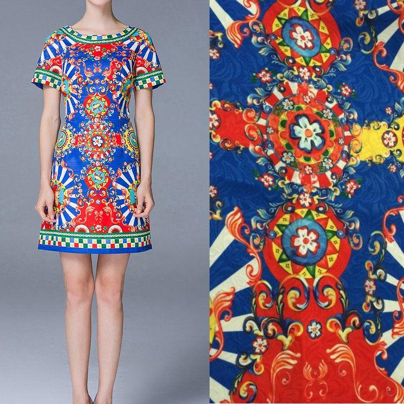 polyester jacquard dress fabric,sicily style windmill print thick jacquard fabric,fashion women dress polyester fabric