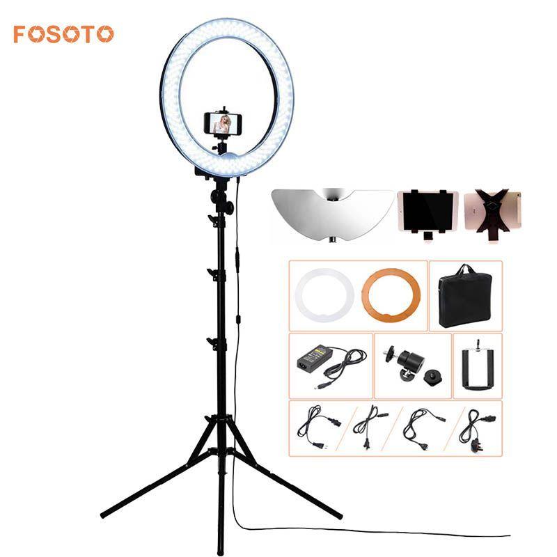 Fosoto Caméra Photo/Vidéo/téléphone RL-18 55 W 240 LED 5500 K Photographie Dimmable Anneau Vidéo Lumière Lampe avec La Lune Miroir/Trépied