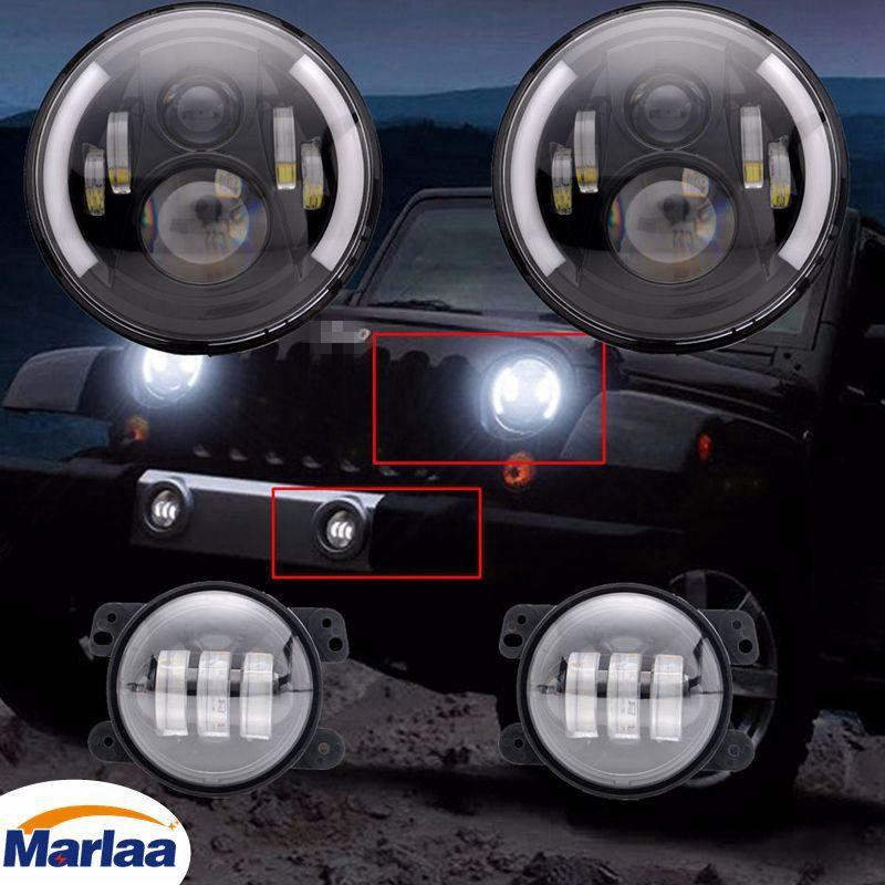 2X 7inch Round LED Headlight + 4'' LED Fog Light for Jeep Wrangler JK LJ TJ CJ