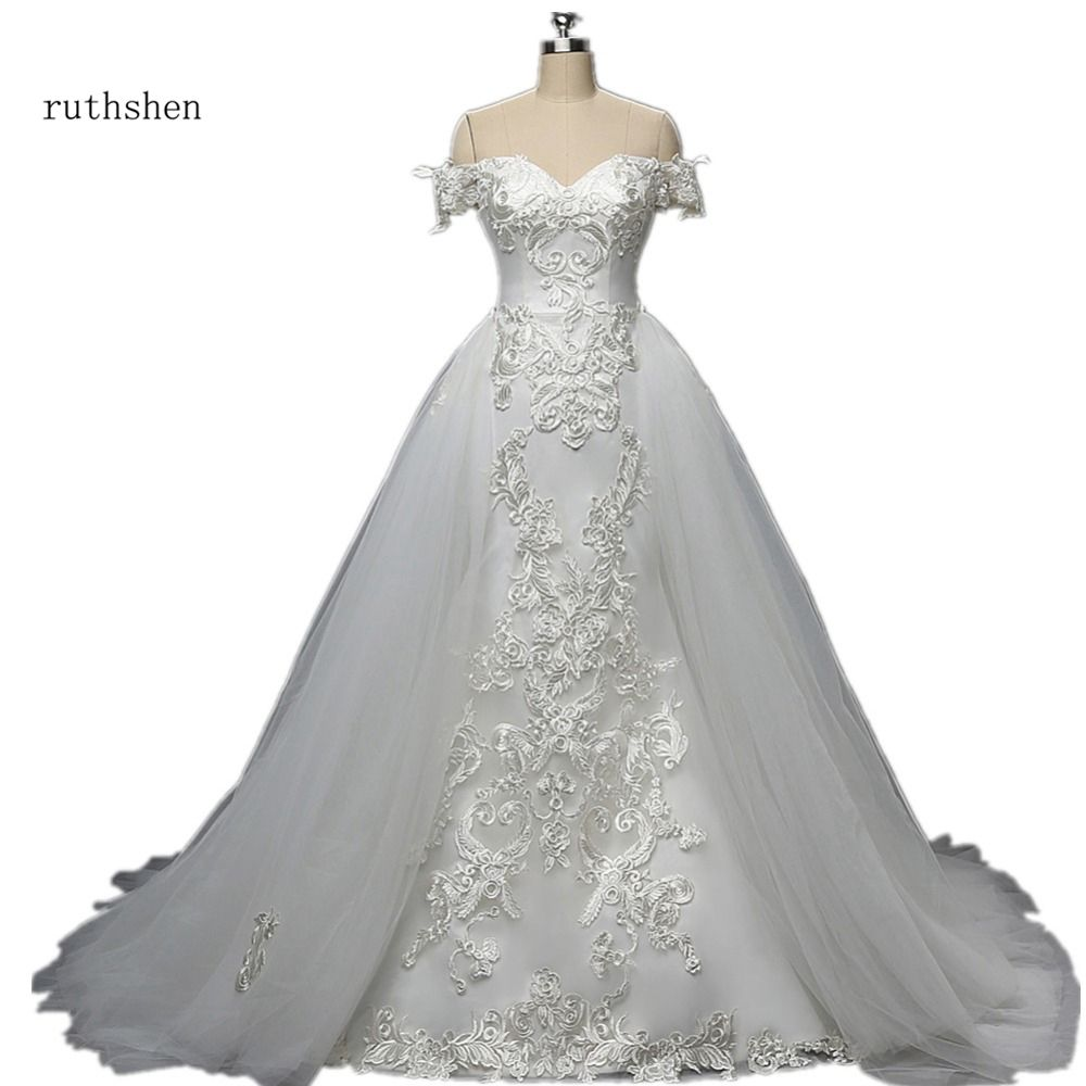 Gorgeous Real Photo Mermaid Wedding Dress With Short Sleeves Detachable Train Luxury Lace Appliques Bridal Gown Robe Mariage