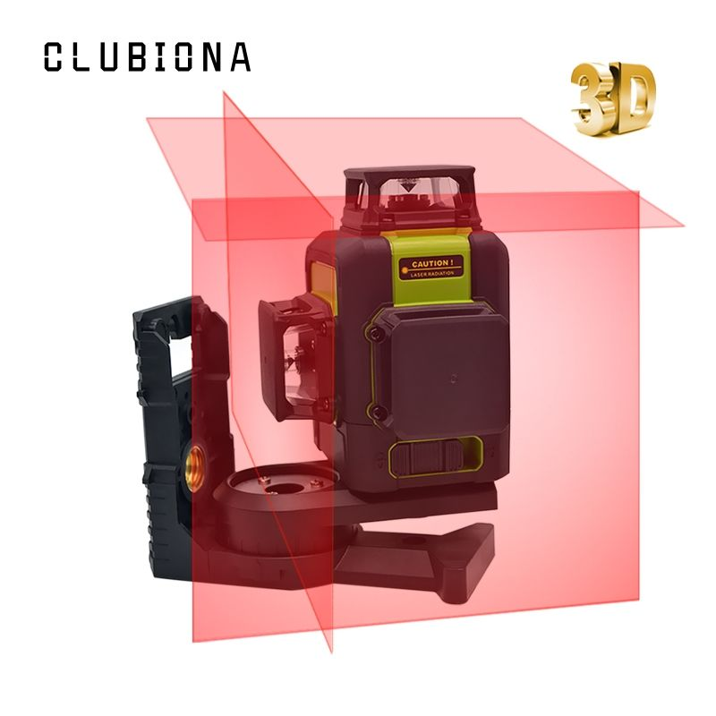 Clubiona 3D 12RC 12 Lines Laser Level with LITHIUM BATTERY & Horizontal And Vertical Lines Work Separately Red Laser Beam Lines