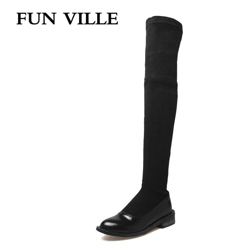 FUN VILLE 2017 Nouvelle Mode d'hiver Femmes sur le genou Bottes en cuir véritable + PU Sexy Dames chaussures bout Rond slip-on taille 34-42