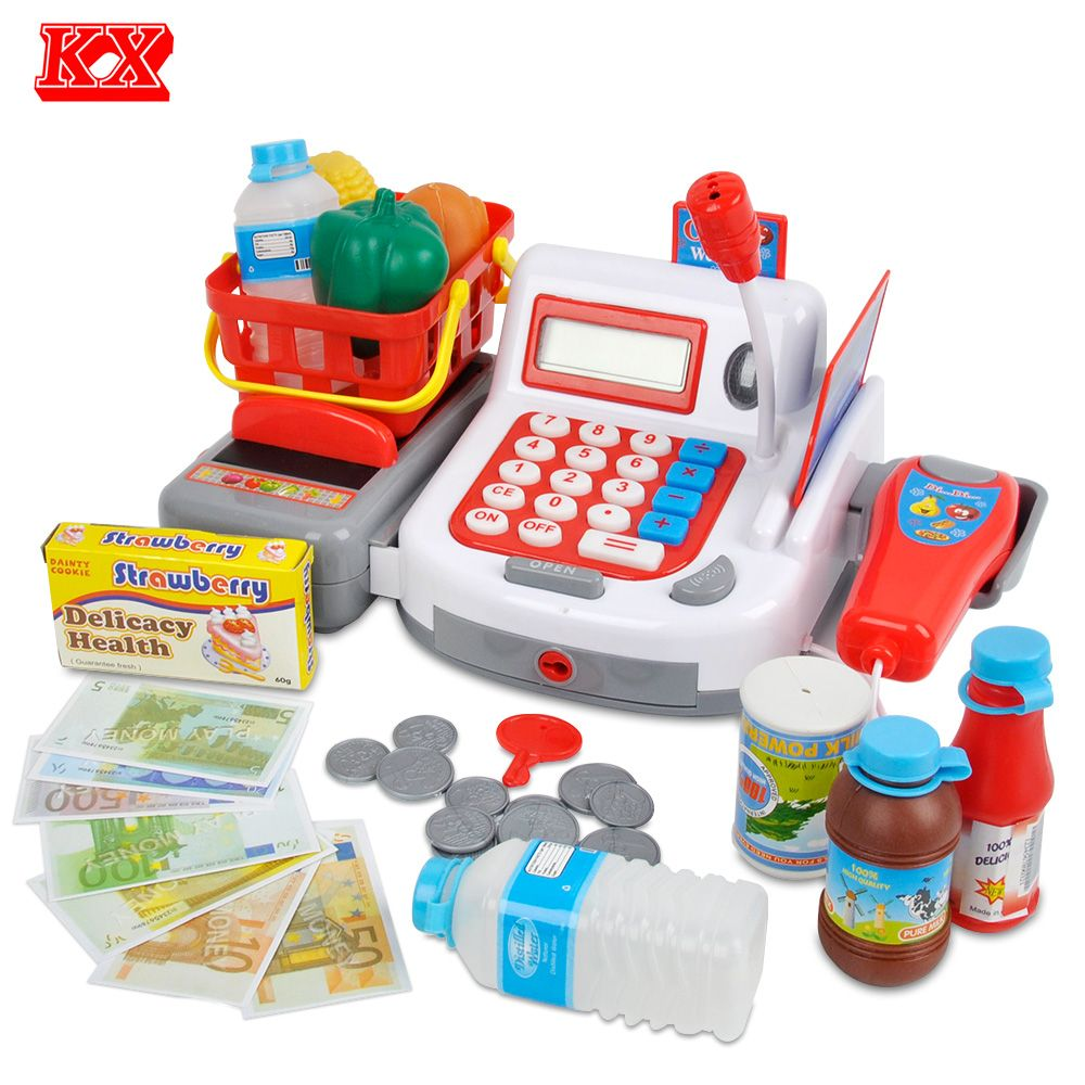 Kids Supermarket Cash Register Electronic Toys with Foods Basket Money Children Learning Education Pretend Play Set Red Pink D50
