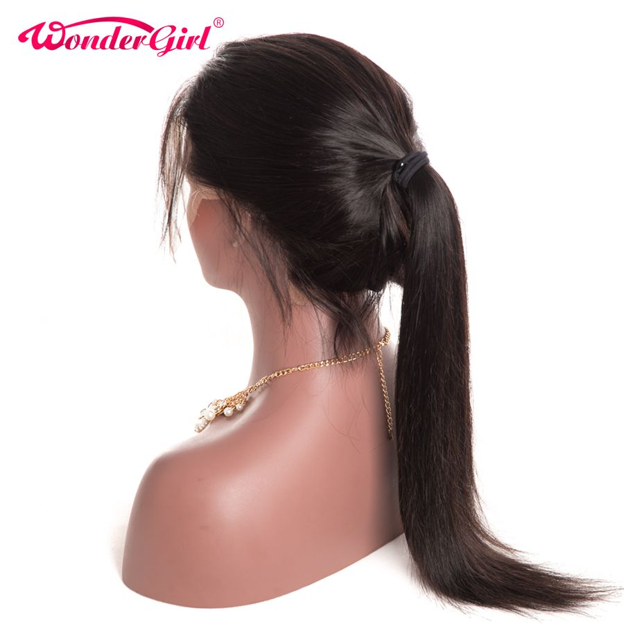 Wonder girl Glueless Lace Front Human Hair Wigs For Black Women Pre Plucked Brazilian Straight Lace Wig With Baby Hair Non Remy