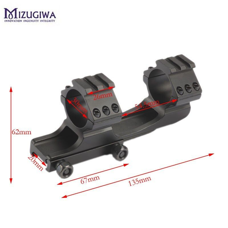 Mizugiwa Scope Mount 25.4mm 30mm Dual Ring Cantilever Heavy Duty Picatinnywith 20mm /11mm offset Weaver Rail Hunting Caza Black