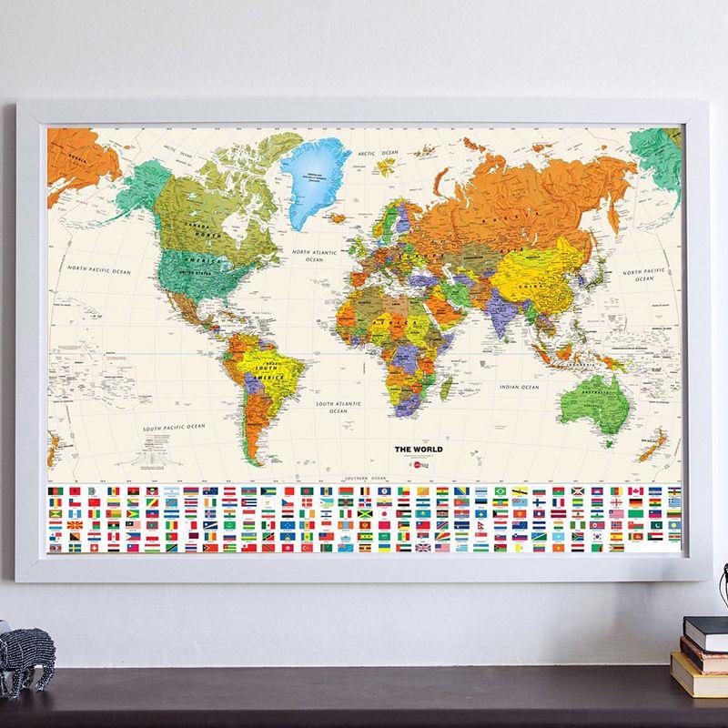 Toile Vintage Carte du monde de pays drapeau rétro Peinture À L'huile Impression Salon Mur Art Artisanat Autocollant Bar Café Affiche et CARTES