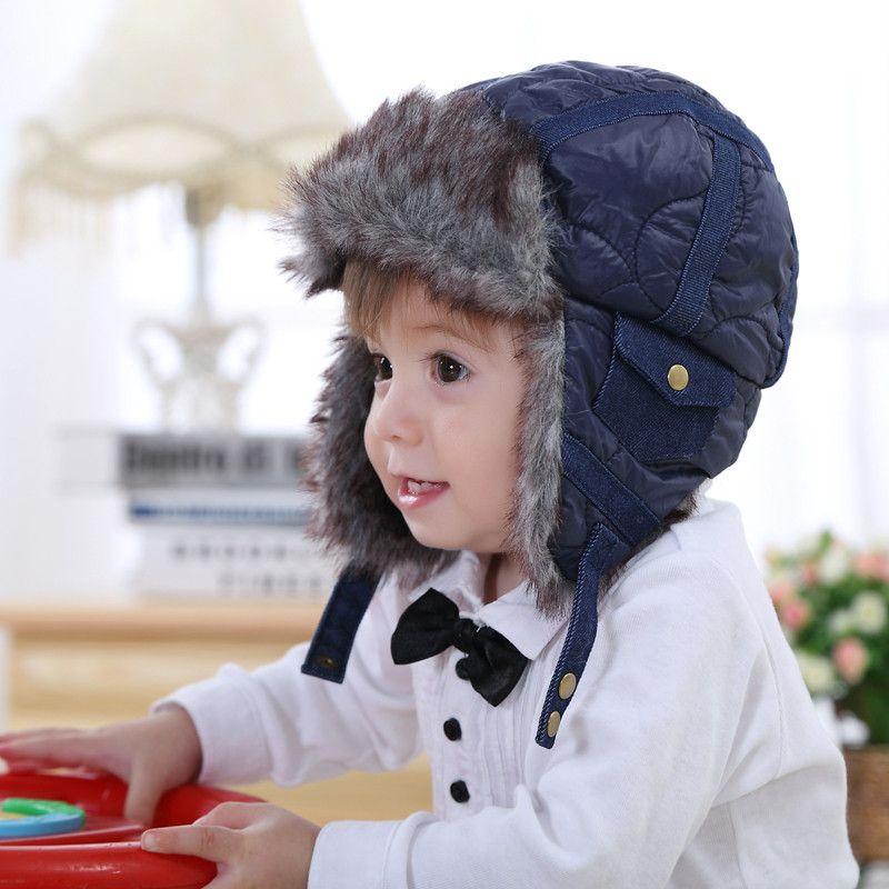 Bébé et enfants en bas âge garçons en fausse fourrure polaire bleu bomber chapeaux nouvelle hiver chaud infantile neige casual earflap chapeaux de noël cadeaux