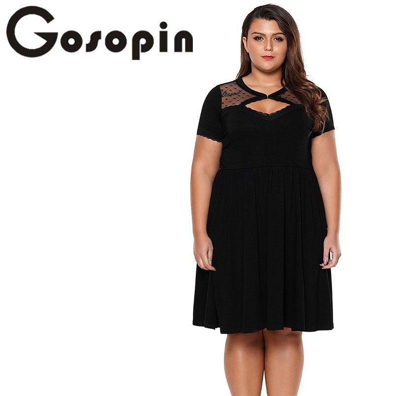 Gosopin Plus Size Summer Sexy Dress Women Party Dress Hollow Out Dot Short Skater Dresses Ruffle Black 4xl Vestidos New LC61979