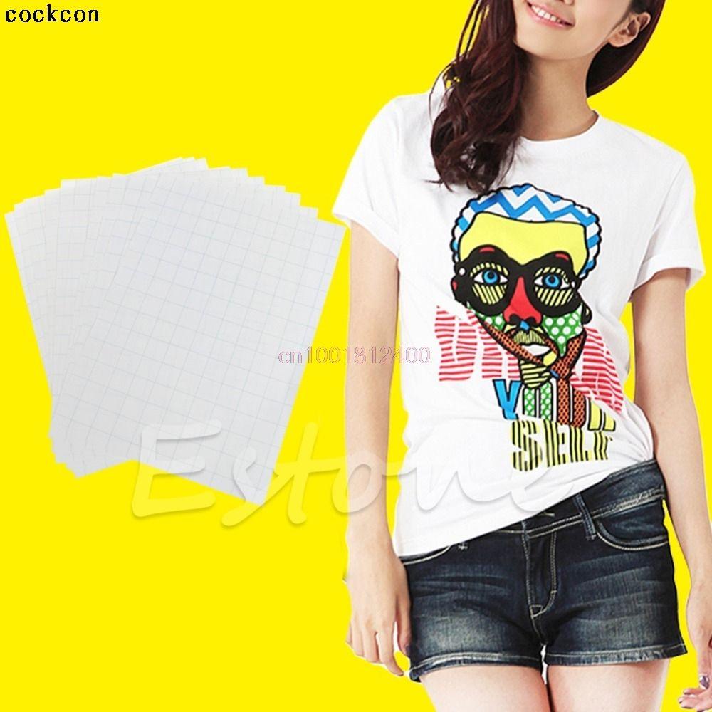 10 Blätter Für Tuch T-Shirt Eisen Auf Inkjet Stoffe Wärmeübertragung Papier A4