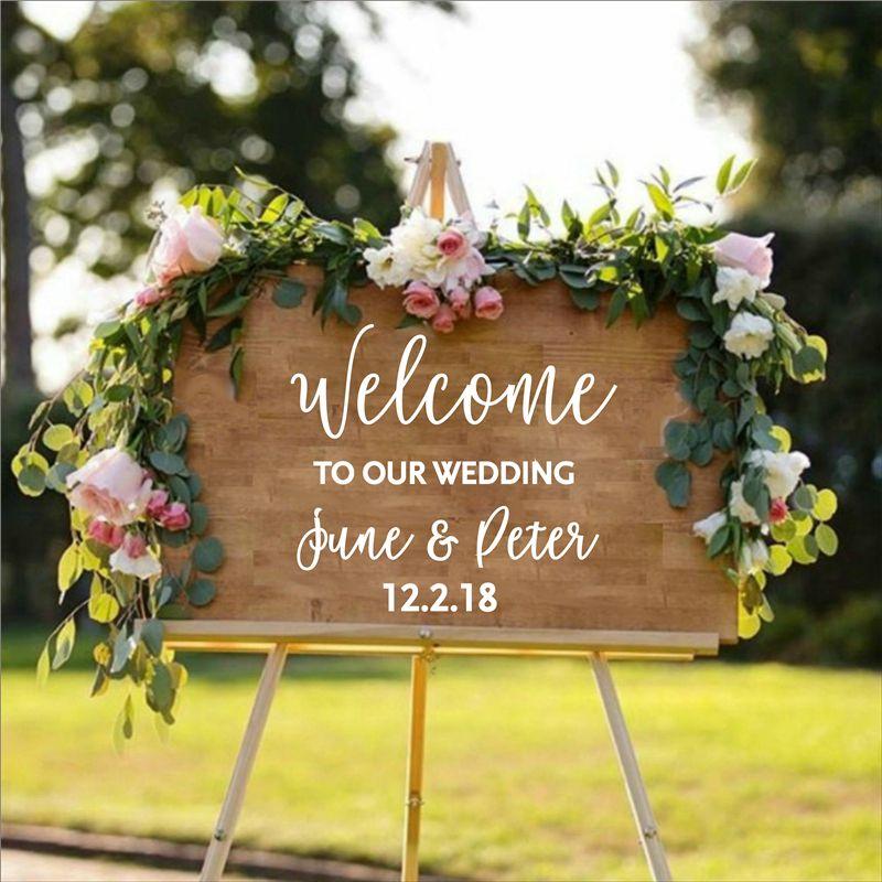 Personnalisé mariage bienvenue autocollant signe mariée et marié noms Date de mariage personnalisé vinyle autocollant autocollant