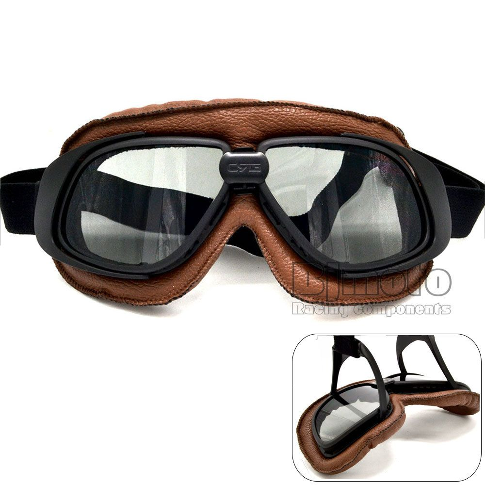Helmet Goggles With Smoking Lens Motorcycle Goggle Vintage Pilot Biker Leather For Motorcycle Bike ATV Goggle 5 Lens Color