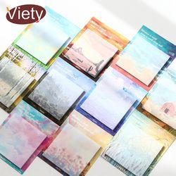 1 x pintura paisaje del planificador del cojín de nota notas pegajosas papel Bloc de notas kawaii papelería pepalaria Oficina suministros de la escuela