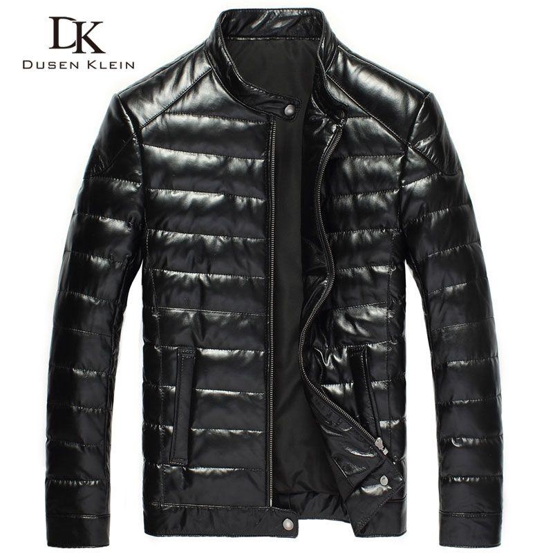 2016 New Men Genuine Leather down Jacket Brand Dusen Klein Black/Slim/Sheepskin leather Coat DK033