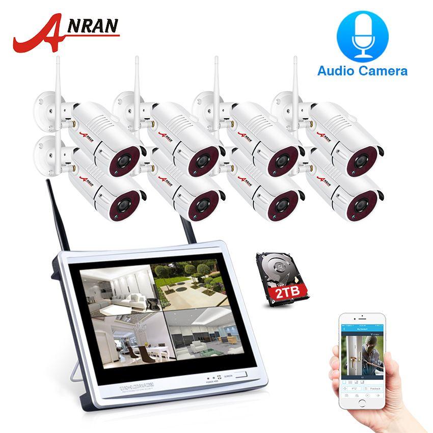 ANRAN 8CH Drahtlose Audio Record Überwachung Kamera System 1080 P HD IP Outdoor Nachtsicht CCTV Sicherheit Kamera System