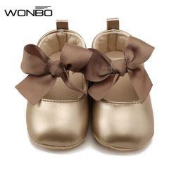 WONBO 0-18 m niño bebé suave PU princesa zapatos arco vendaje infantil Prewalker zapatos de bebé recién nacido