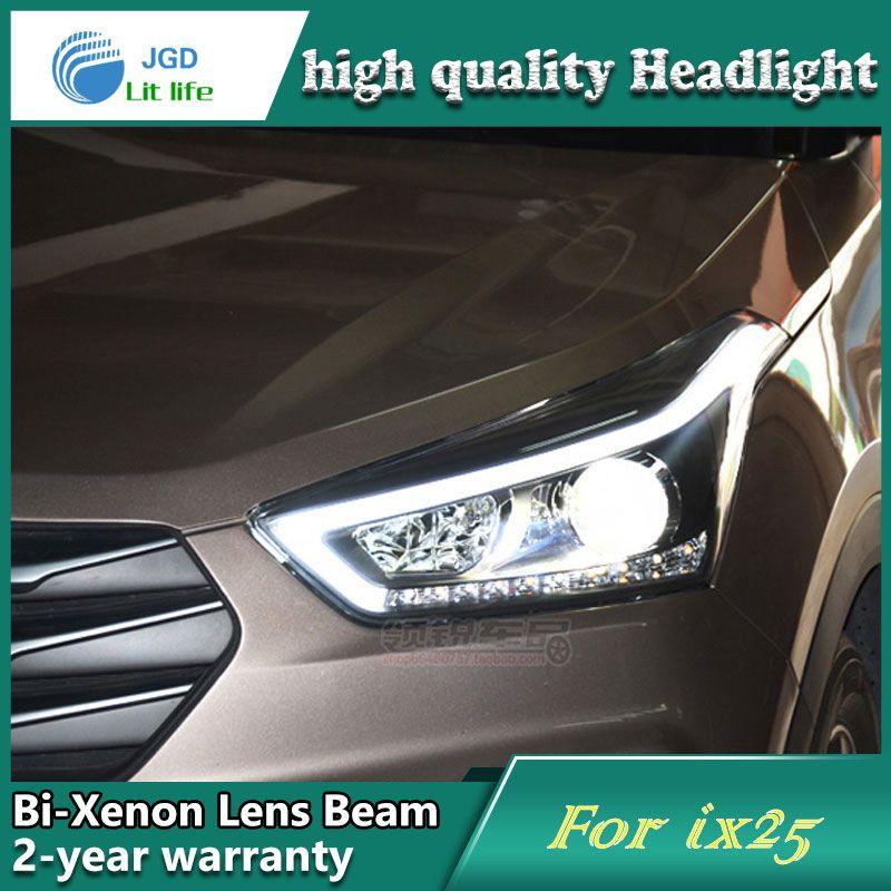Auto Styling Kopf Lampe fall für Hyundai IX25 Scheinwerfer Led-scheinwerfer DRL Objektiv Double Beam Bi-Xenon VERSTECKTE Zubehör
