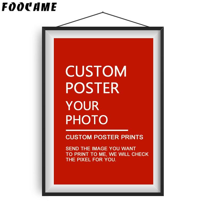 FOOCAME affiche personnalisée mur Art imprime soie Anime film paysage peinture votre Photo personnalisé moderne décoration de la maison photos