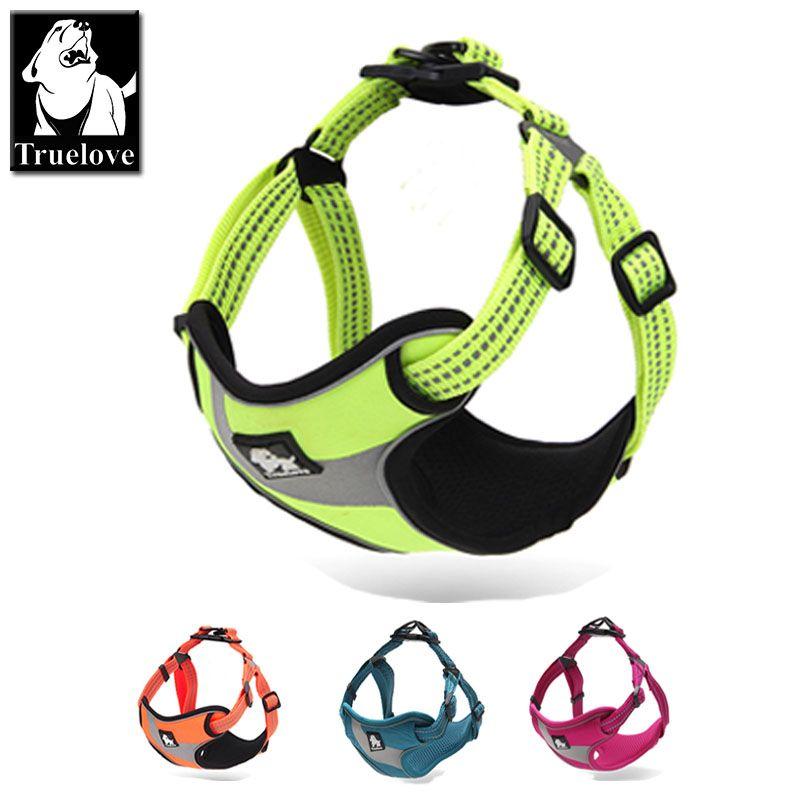 Truelove réglable facile sur chien harnais pour animaux de compagnie aventure en plein air 3 M réfléchissant chien licou protection Nylon marche chien harnais gilet