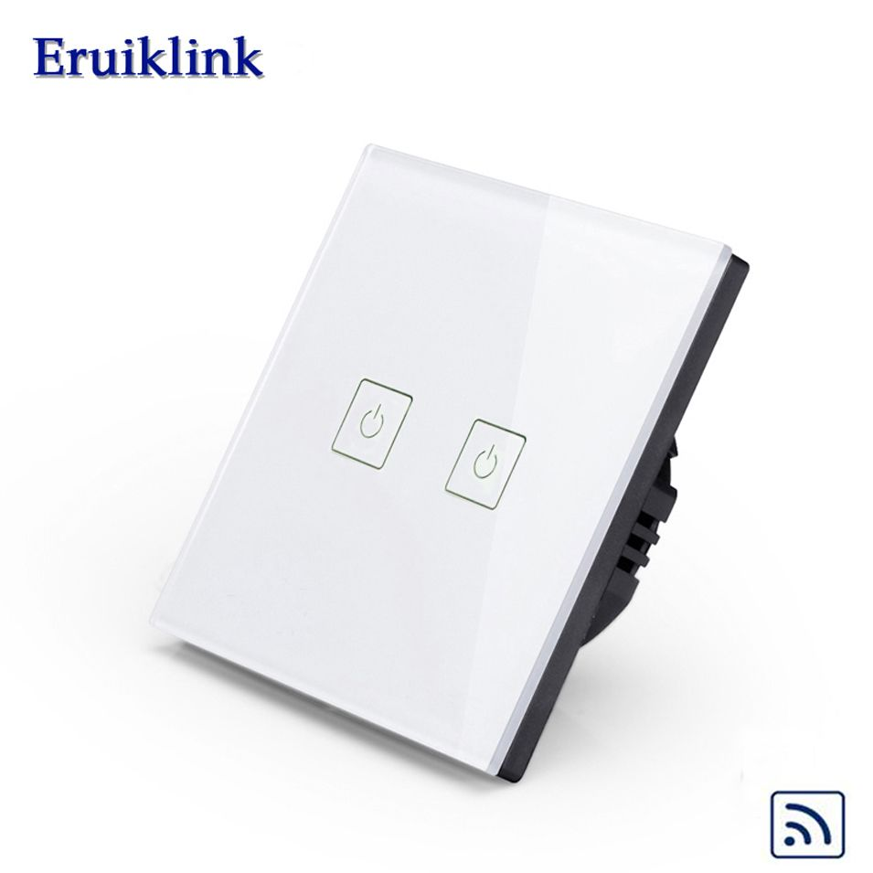 Eruiklink EU Standard Touch Remote Switch 1 Gang 2 gang 3 gang 1 Way, Wall Light Touch Switch, Crystal Glass Switch Panel, RF433