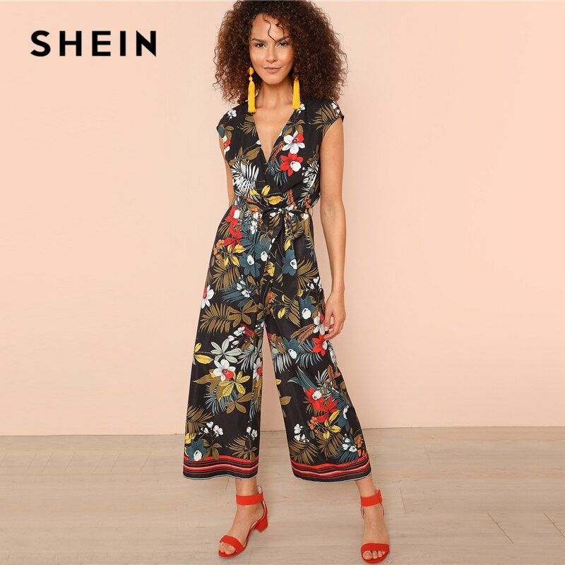 SHEIN Multicolor Belted Knot Tropical Print Stripe Tape Hem Straight Leg Jumpsuit Women Summer Round Neck Short Sleeve Jumpsuit