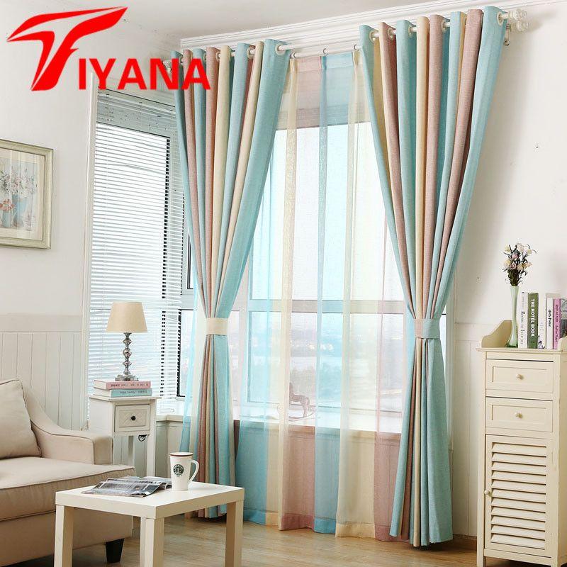 Tiyana Moderne Elegante Multi Farbe Streifen Vorhänge Fenster Vorhänge für Wohnzimmer Schlafzimmer Qualität Sheer Vorhang Wohnkultur P391Z20