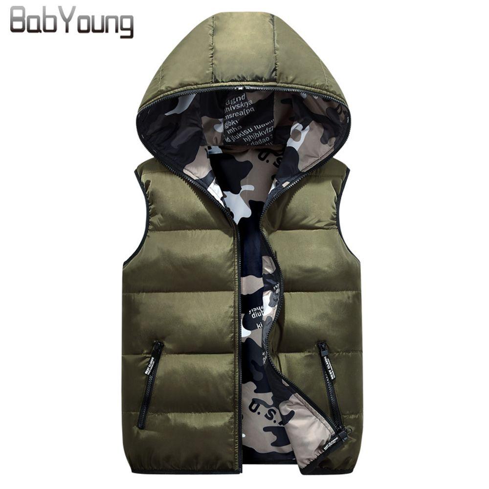 BabYoung 2017 Winter Women Vest Cotton Down Warm Coat Chaleco <font><b>Mujer</b></font> Hat Femme Both Sides Wear Veste Femme Camouflage Outerwear