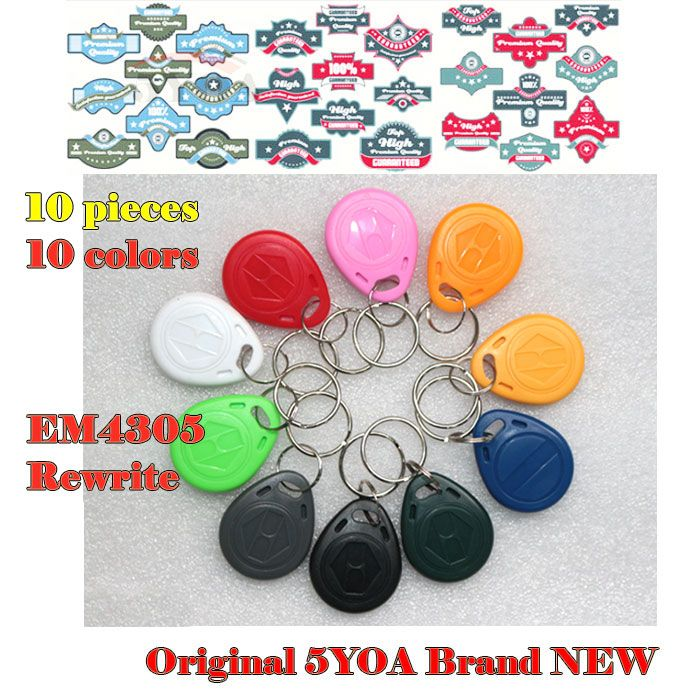 10pcs EM4305 Copy Rewritable Writable Rewrite EM ID keyfobs RFID Tag Key Ring Card 125KHZ Proximity Token Access Duplicate