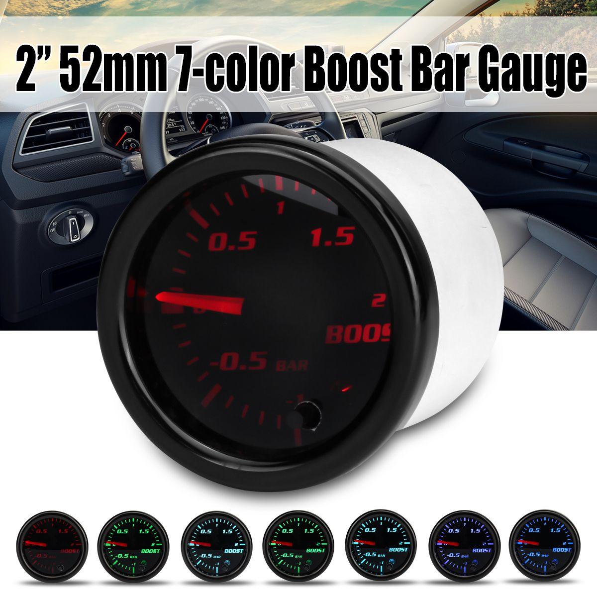 2 zoll 52mm Turbo Mechanische Boost Gauge Vakuum Press Meter-1 ~ 2 Bar 7 Farbe LED Schwarz len 12 v