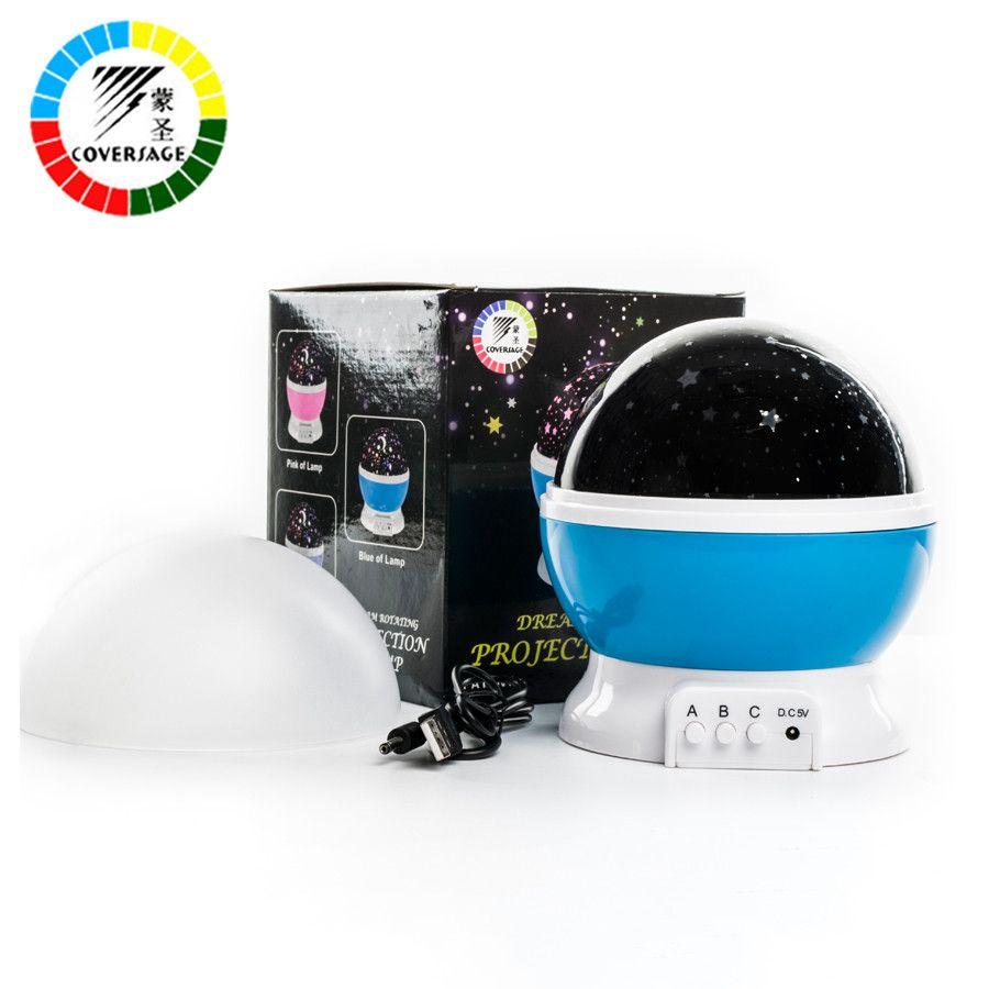 Coversage rotatif veilleuse projecteur Spin étoilé ciel étoile maître enfants enfants bébé sommeil romantique Projection de lampe LED usb