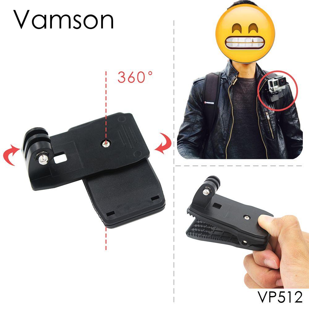 Vamson for Go Pro Accessories 360-Degree Rotation Clip For GoPro Hero 6 5 4 3+ 3 2 1 for Xiaomi yi for SJCAM for SJ4000 VP512