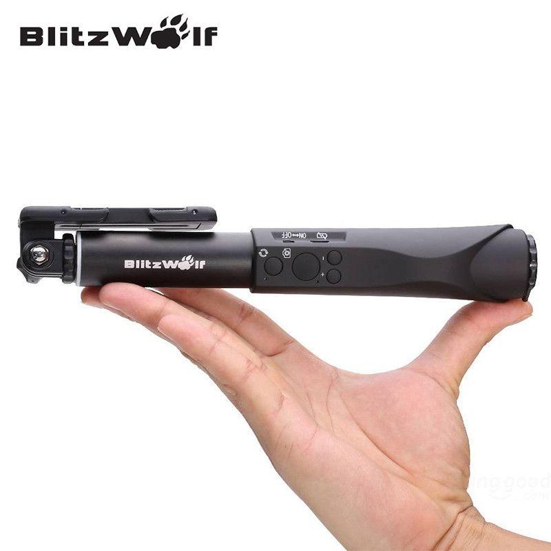 BlitzWolf Universel Bluetooth Filaire Sans Fil Selfie Bâton Extensible Portable Mobile Téléphone Manfrotto Pour Samsung Pour iPhone